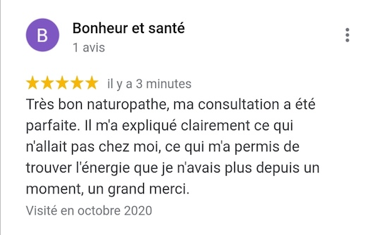Bon médecin naturopathe à Paris, témoignage avis google