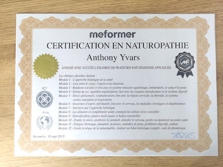 Certification en naturopathie holistique prouve le parcours d'un naturopathe, ce qu'il a suivis et appris